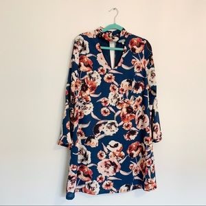 Skies are Blue Floral Long Sleeve Loose Dress Lrg